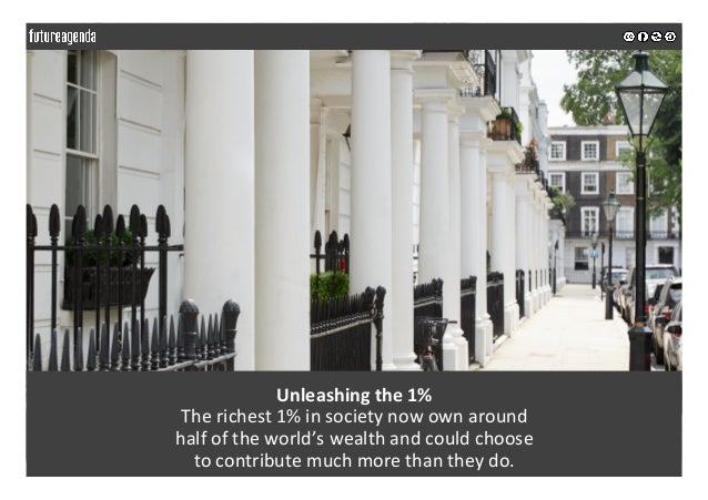 Unleashingthe1% Therichest1%insocietynowownaround halfoftheworld'swealthandcouldchoose tocontribute...
