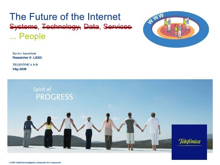 TELEFÓNICA I+D May 2008 The Future of the Internet Systems, Technology, Data, Services   ... People © 2007 Telefónica Inve...