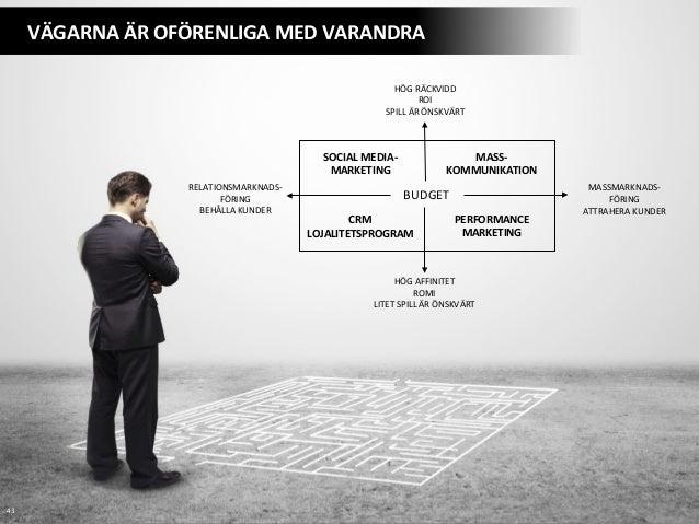 43   VÄGARNA  ÄR  OFÖRENLIGA  MED  VARANDRA   MASSMARKNADS-‐   FÖRING   ATTRAHERA  KUNDER   HÖG  AF...