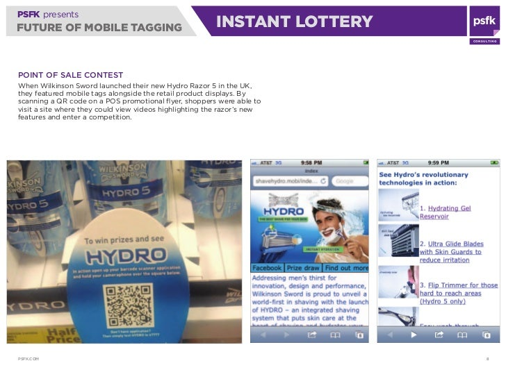 PSFK presents FUTURE OF MOBILE TAGGING                                 INSTANT LOTTERY                                    ...