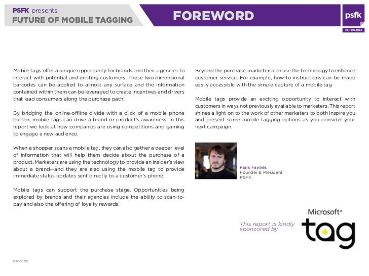 PSFK presents FUTURE OF MOBILE TAGGING                                    AWARENESS                                       ...