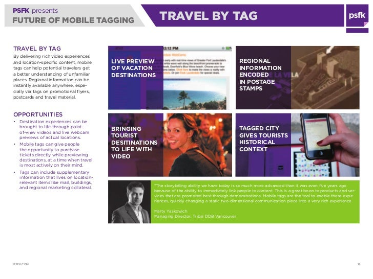 PSFK presents FUTURE OF MOBILE TAGGING                                  TRAVEL BY TAG  TRAvEl BY TAg By delivering rich vi...