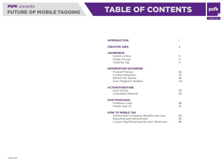 PSFK presents FUTURE OF MOBILE TAGGING   AWARENESSCONTENTS                             TABLE OF                           ...