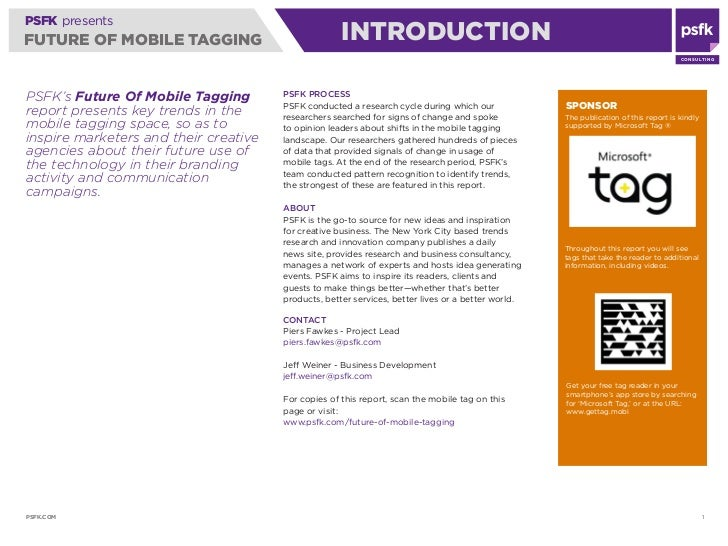 PSFK presents FUTURE OF MOBILE TAGGING                             INTRODUCTION                                           ...