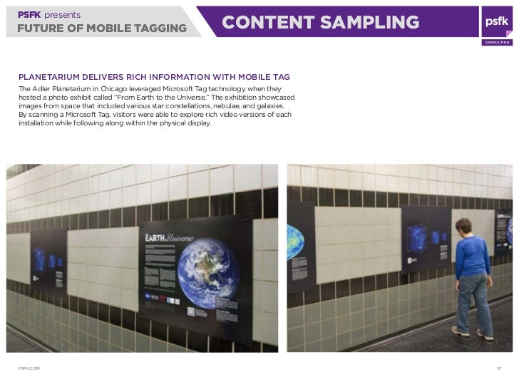 PSFK presents FUTURE OF MOBILE TAGGING                                       CONTENT SAMPLING                             ...
