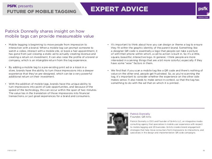 PSFK presents  FUTURE OF MOBILE TAGGING                                               ExPERT ADVICE                       ...