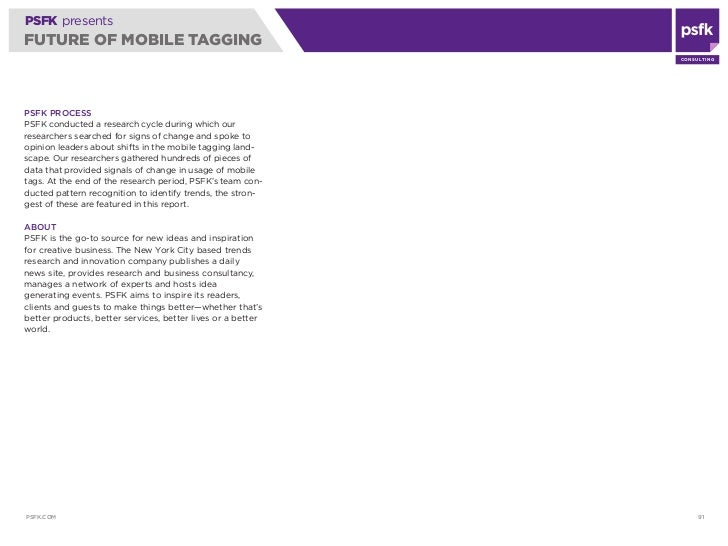 PSFK presents Future Of Mobile Tagging Report