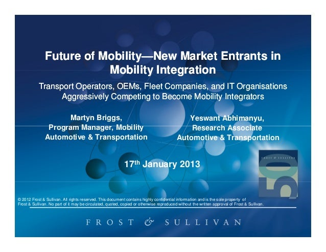 Future of Mobility—New Market Entrants in                         Mobility—                          Mobility Integration ...