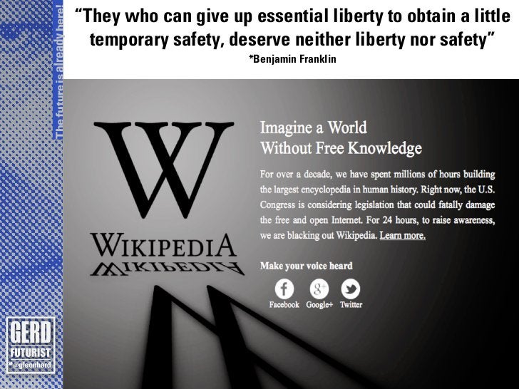 """The future is already here!                              """"They who can give up essential liberty to obtain a little       ..."""