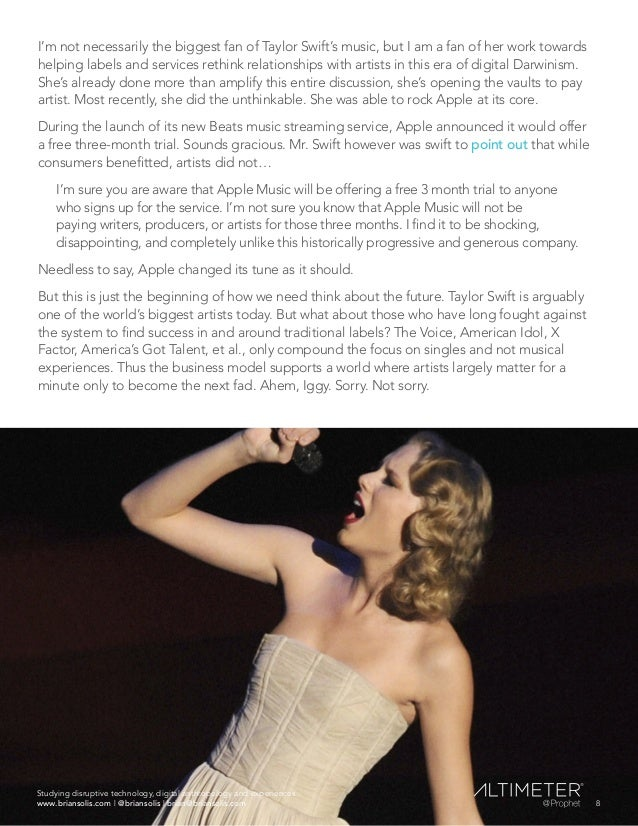 I'm not necessarily the biggest fan of Taylor Swift's music, but I am a fan of her work towards helping labels and service...