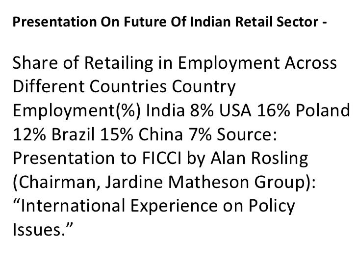 Presentation On Future Of Indian Retail Sector -ShareofRetailinginEmploymentAcrossDifferentCountriesCountryEmplo...