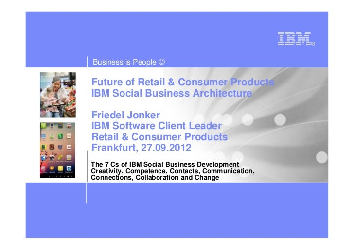 Business is People ☺Future of Retail & Consumer ProductsIBM Social Business ArchitectureFriedel JonkerIBM Software Client ...
