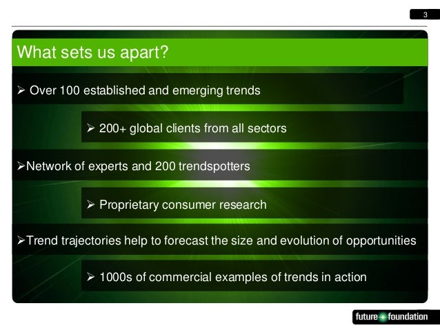3  What sets us apart?  Over 100 established and emerging trends  200+ global clients from all sectors Network of exper...