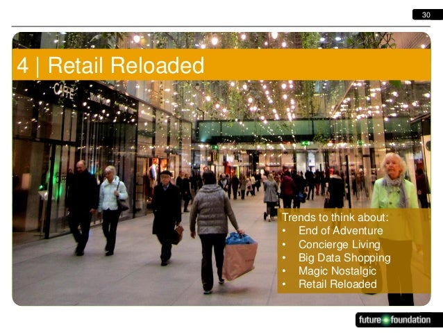 30  [Example text box to copy and resize] 4   Retail Reloaded  Trends to think about: • End of Adventure • Concierge Livin...