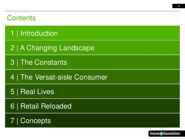 4  Contents 1   Introduction  2   A Changing Landscape 3   The Constants 4   The Versat-aisle Consumer 5   Real Lives 6   ...