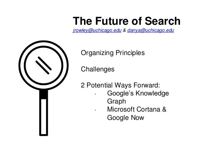 The Future of Search jrowley@uchicago.edu & danya@uchicago.edu Organizing Principles Challenges 2 Potential Ways Forward: ...