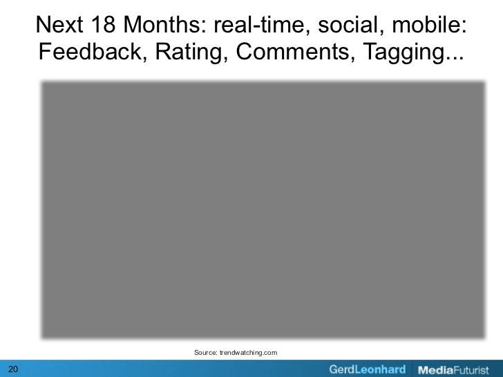 Next 18 Months: real-time, social, mobile:      Feedback, Rating, Comments, Tagging...                         Source: tre...