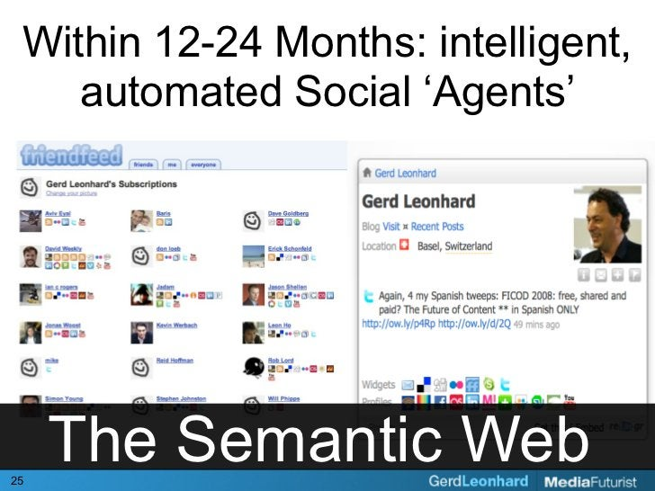 Within 12-24 Months: intelligent,     automated Social 'Agents'     25      The Semantic Web