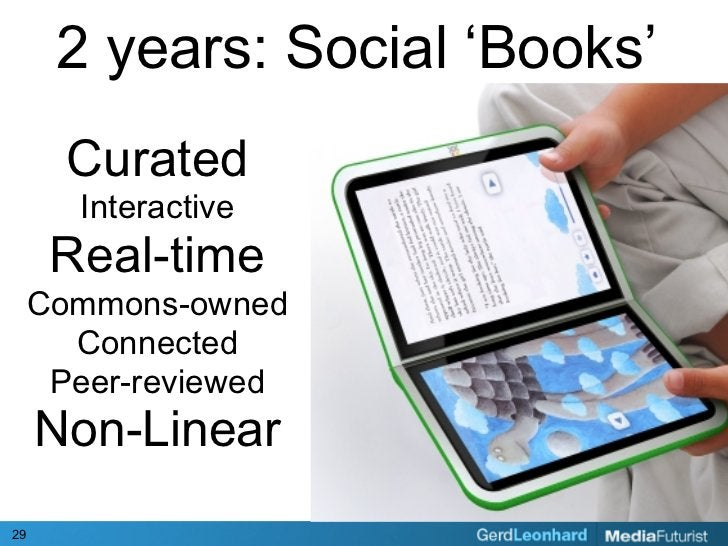 2 years: Social 'Books'        Curated        Interactive       Real-time      Commons-owned        Connected       Peer-r...