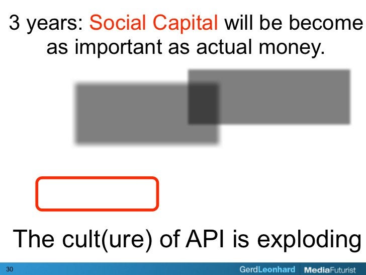 3 years: Social Capital will be become     as important as actual money.      The cult(ure) of API is exploding 30