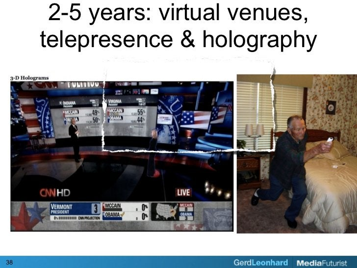 2-5 years: virtual venues,      telepresence & holography     38