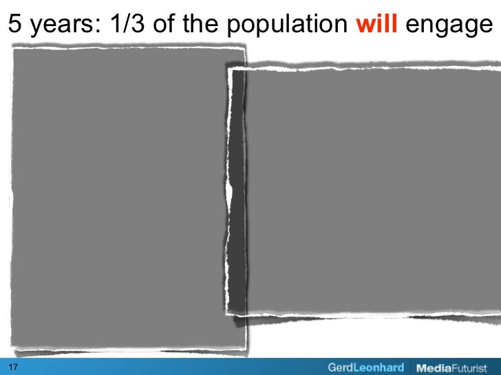 5 years: 1/3 of the population will engage     17