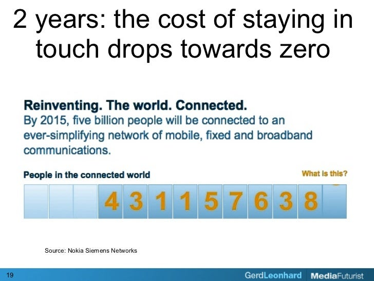 2 years: the cost of staying in    touch drops towards zero          Source: Nokia Siemens Networks    19
