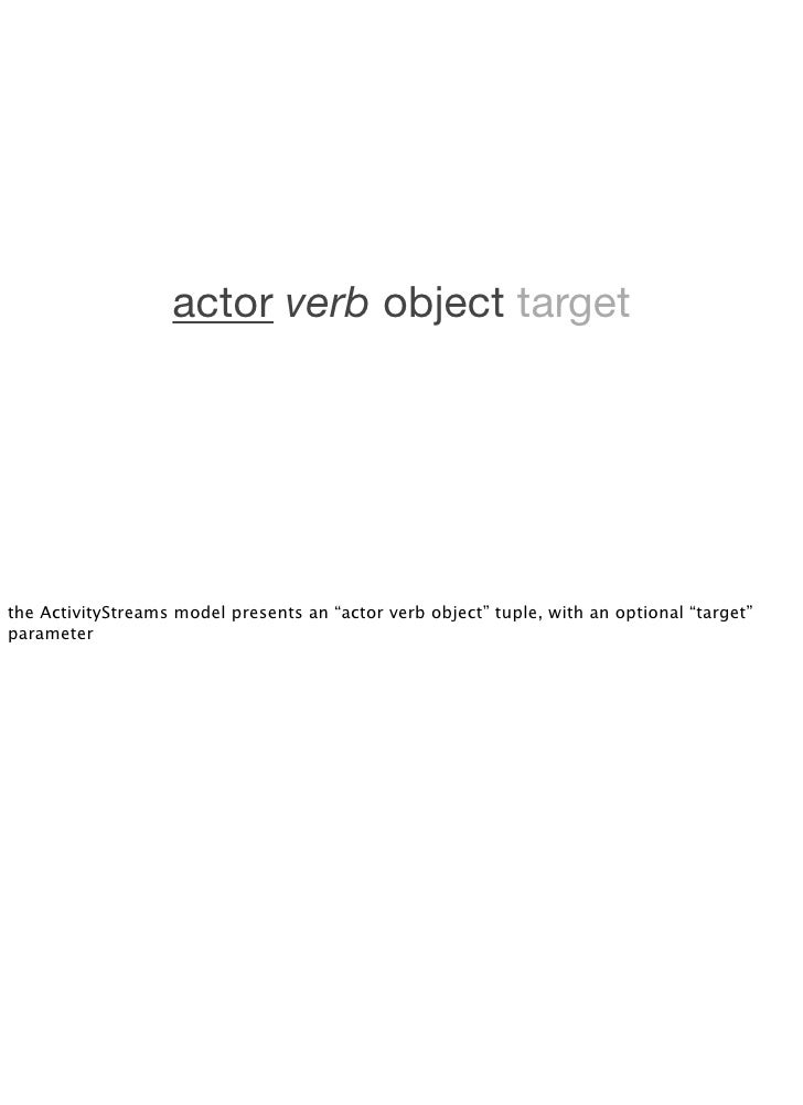 """actor verb object target     the ActivityStreams model presents an """"actor verb object"""" tuple, with an optional """"target"""" pa..."""