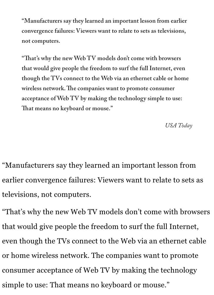 """""""Manufacturers say they learned an important lesson from earlier       convergence failures: Viewers want to relate to set..."""