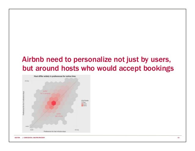 Airbnb need to personalize not just by users, but around hosts who would accept bookings 15HOXTON | CONFIDENTIAL AND PROPR...