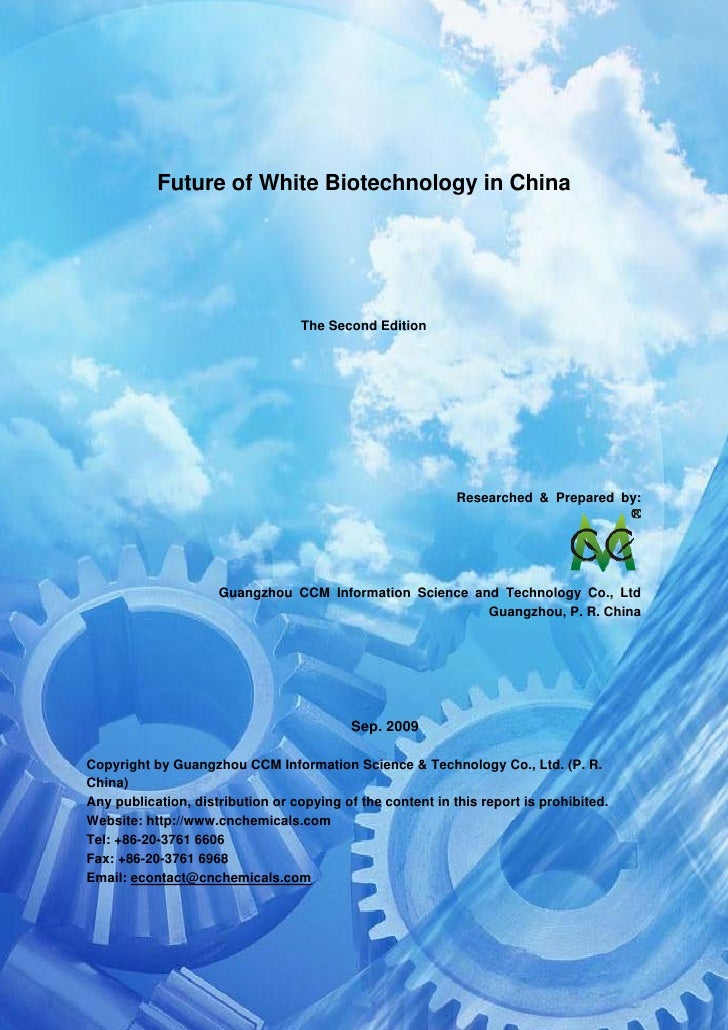 CCM Data & Primary Intelligence                Future of White Biotechnology in China                                     ...