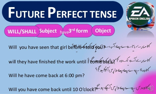 Future perfect tense with example and sentences easy method in urdu h….
