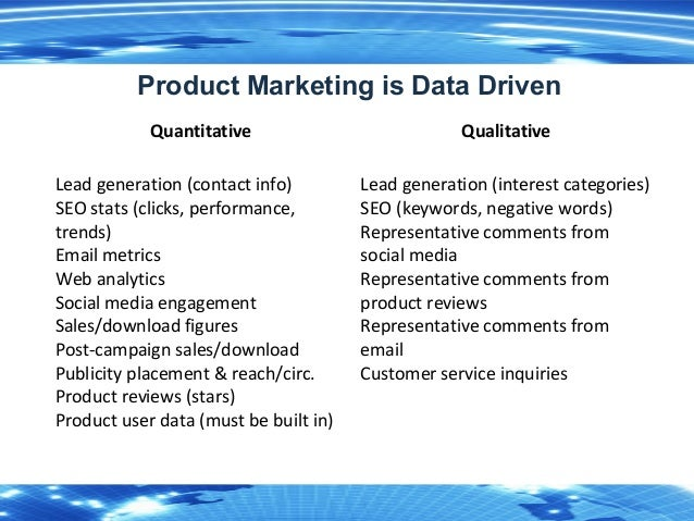 7 Product Marketing is Data Driven Quantitative Qualitative Lead generation (contact info) SEO stats (clicks, performance,...