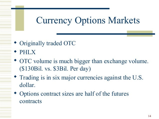 Options are exchange traded or otc