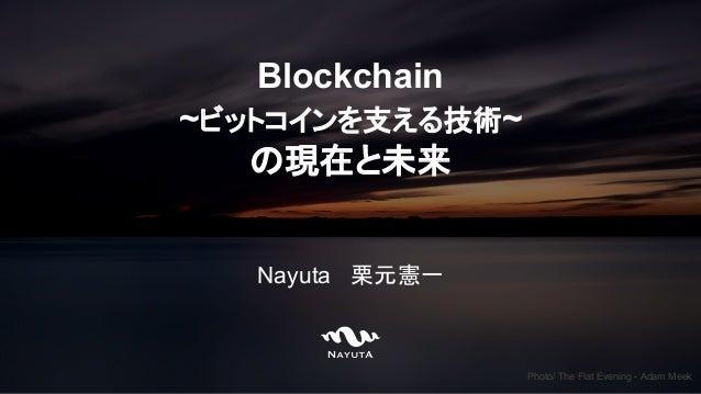 Blockchain ~ビットコインを支える技術~ の現在と未来 Nayuta 栗元憲一 Photo/ The Flat Evening - Adam Meek