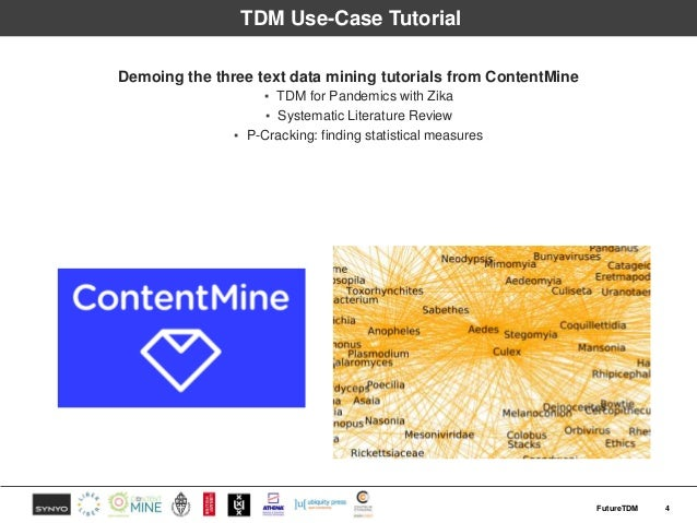 TDM Use-Case Tutorial Demoing the three text data mining tutorials from ContentMine ▪ TDM for Pandemics with Zika ▪ System...