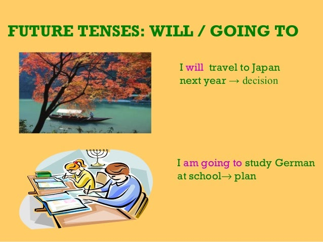 FUTURE TENSES: WILL / GOING TO I will travel to Japan next year → decision  I am going to study German at school→ plan