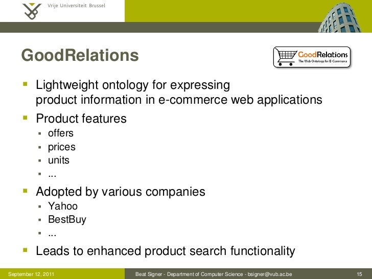GoodRelations      Lightweight ontology for expressing          product information in e-commerce web applications      ...