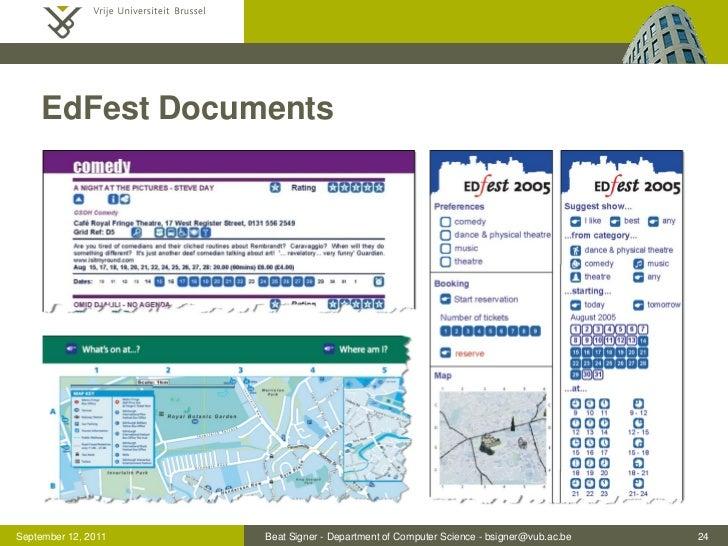 EdFest DocumentsSeptember 12, 2011   Beat Signer - Department of Computer Science - bsigner@vub.ac.be   24