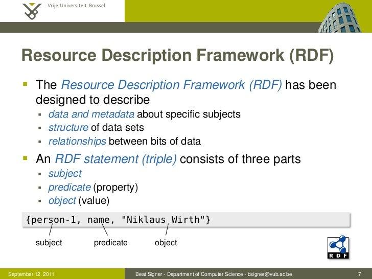 Resource Description Framework (RDF)      The Resource Description Framework (RDF) has been          designed to describe...