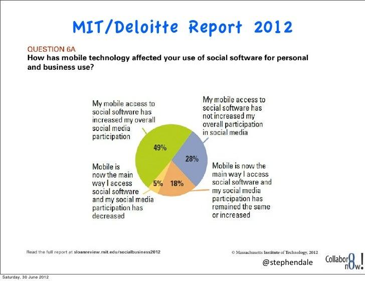 MIT/Deloitte Report 2012                                             @stephendaleSaturday, 30 June 2012