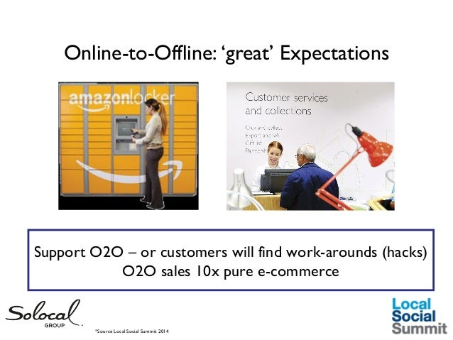 Online-to-Offline: 'great' Expectations  Support O2O – or customers will find work-arounds (hacks) O2O sales 10x pure e-co...