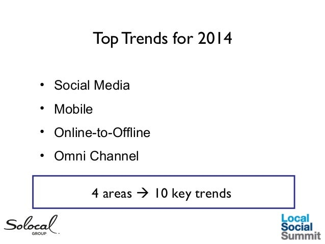 Top Trends for 2014 • Social Media • Mobile • Online-to-Offline • Omni Channel  4 areas  10 key trends