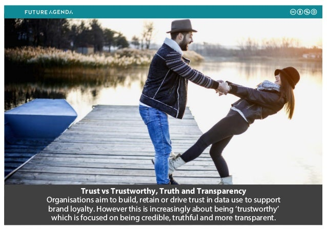 Trust vs Trustworthy, Truth and Transparency Organisations aim to build, retain or drive trust in data use to support bran...