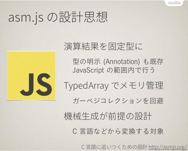 C 言語に追いついてきた!  C 言語 (clang) 基準の実行時間  殆どの処理で C 言語 (clang) の 1.5 倍以内の時間  C (clang)  JavaScript (asm.js)  C (gcc) の場合も  2013/...