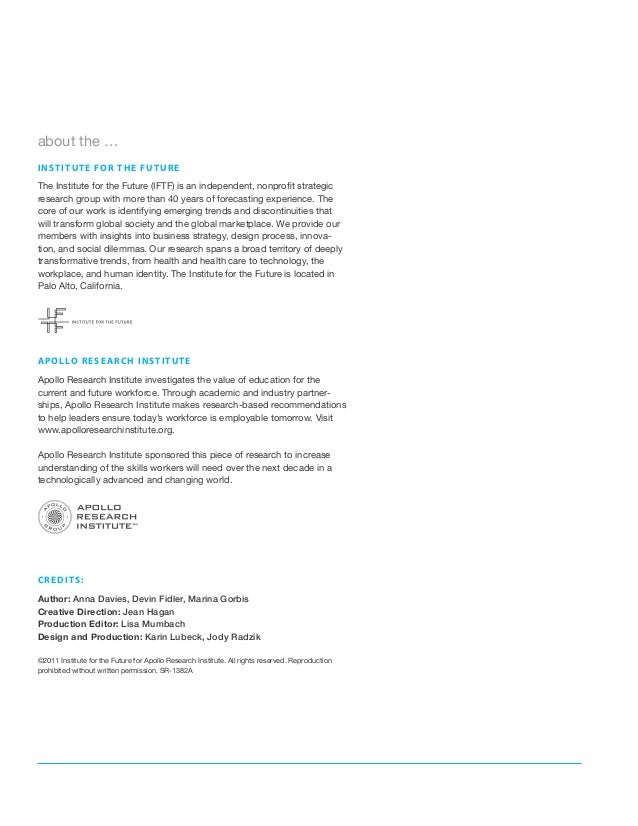 about the …i n s t i t u t e f o r t h e fu t ur eThe Institute for the Future (IFTF) is an independent, nonprofit strateg...