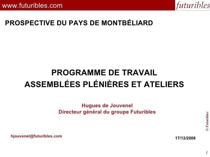 futuribles www.futuribles.com PROGRAMME DE TRAVAIL ASSEMBLÉES PLÉNIÈRES ET ATELIERS [email_address] 17/12/2008 Hugues de J...