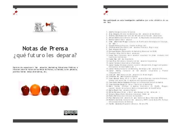 Notas de Prensa  ¿qué futuro les depara?  Opinión de expertos en Comunicación, Marketing, Relaciones Públicas e Internet s...