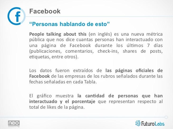 """Facebook""""Personas hablando de esto""""People  talking  about  this  (en  inglés)  es  una  nueva  métrica ..."""