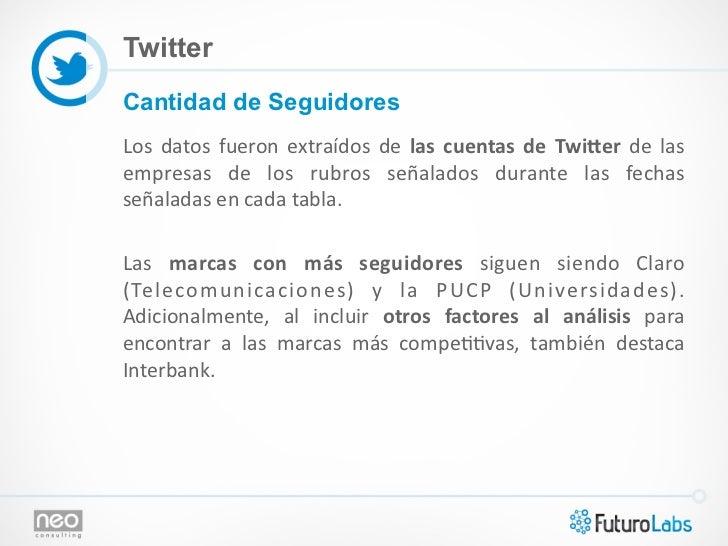 TwitterCantidad de SeguidoresLos  datos  fueron  extraídos  de  las  cuentas  de  Twi.er  de  las em...